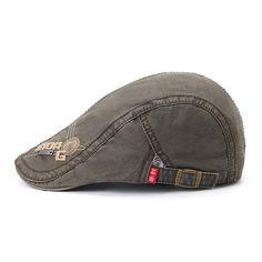 1361fac5ffd Men Embroidery Letter Cotton Beret Cap Buckle Adjustable Label Sunshade  Newsboy Hat Peaked Cap