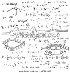 Aerodynamics law theory and physics mathematical formula equation, doodle handwriting icon in white isolated background with hand drawn model, create by vector