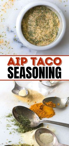 This Homemade Taco Seasoning Recipe is suitable for AIP diets (nightshade free and seed free). It's so easy to make and is keto, gluten free and vegan. Healthy Dips, Healthy Side Dishes, Healthy Appetizers, Side Dish Recipes, Vegan Mexican Recipes, Paleo Recipes, Healthy Dinner Recipes, Real Food Recipes, Homemade Kale Chips
