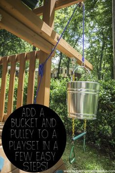 Take your playset to the next level with a handy bucket pulley system. outdoor play area for kids forts Add a Bucket With a Pulley to an Outdoor Playset in a Few Easy Steps Kids Outdoor Play, Outdoor Play Spaces, Indoor Play, Cozy Backyard, Backyard For Kids, Backyard Fort, Backyard Treehouse, Backyard Playset, Outdoor Playset
