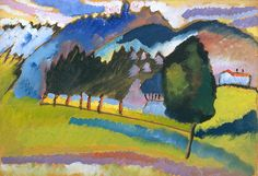 Collection Online | Vasily Kandinsky. Landscape with Rolling Hills (Landschaft mit welligen Hügeln). 1910 - Guggenheim Museum