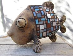 Ceramic fish with glass mosaic scales by HomeyCreatures on Etsy