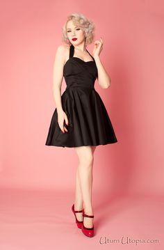 Black Vintage Style Halter Dress /Pin Up/Rockabilly