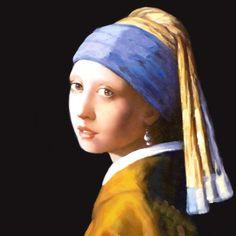 Vermeer Frau mit Perle - Miniaturbild auf Leinwand in Antiquitäten & Kunst, Malerei, Miniaturen & Silhouetten