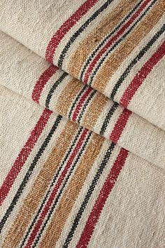 Wonderful rare Vintage European linen grain sack ~ lovely grainsack texture and rare tone!! Beautiful ~ www.textiletrunk.com