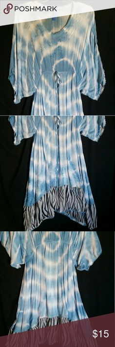 Tie Dyed Summer Dress Beautiful Blue Color  Details include Zebra pattern bottom/embroidered on top & bottom/3/4 flowing sleeves Great Condition! Size S/M Dresses Midi