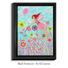 "DiaNocheDesigns 'Garden Fairy' by Sascalia Painting Print on Wrapped Framed Canvas Size: 25.75"" H x 19.75"" W x 1.75"" D, Frame Color: Black"