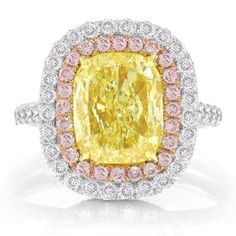 3.58 Ct Double Halo Cushion Cut Fancy Yellow  Pink Diamond Ring (Fancy Intense Yellow Color, VS1 Clarity)  Price : $39,574.00 http://www.blountjewels.com/Double-Cushion-Diamond-Intense-Clarity/dp/B00AWHMKGI