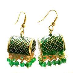 Green Meenakari Earrings Earrings