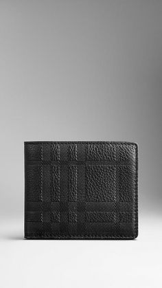 Embossed Check Leather Divider Wallet | Burberry