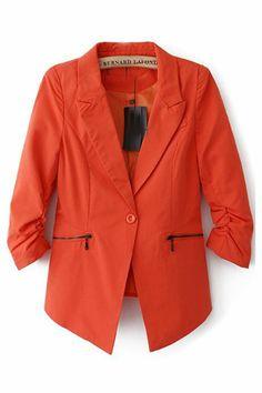 One-button Half Sleeve Plain Blazer