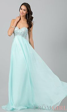 Long Empire Waist Strapless Prom Dress at PromGirl.com