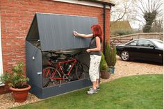 The Protect a Cycle bike storage shed offers unbeatable security and convenience at an affordable price. Protect your bikes with our bicycle storage solutions, view our range today! Bicycle Storage Shed, Outdoor Bike Storage, Bike Shed, Shed Storage, Secure Storage, Small Storage, Garage Velo, Bicycle Garage, Trike Bicycle
