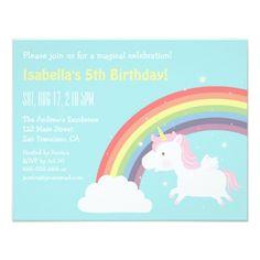 Unicorn Birthday Invitation Rainbow and Unicorn Girls Birthday Party Card Magic Birthday, Unicorn Birthday Parties, Unicorn Party, Girl Birthday, Happy Birthday, Colorful Birthday Party, Unicorn Birthday Invitations, Rainbow Cloud, Rainbow Unicorn