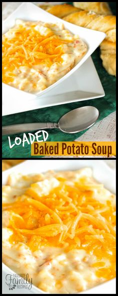 This Loaded Baked Potato Soup is loaded with potatoes, bacon, corn, and cheese. Our hearty recipe is a perfect way to warm up when it is cold outside! via @favfamilyrecipz
