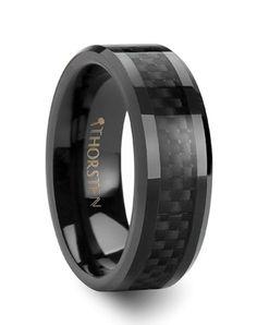 Larson Jewelers ONYX Black Carbon Fiber Inlaid Black Ceramic Wedding Band - 4mm - 12mm Wedding Ring - The Knot