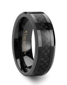 Larson Jewelers ONYX Black Carbon Fiber Inlaid Black Ceramic Wedding Band - 4mm - 12mm Wedding Ring - The Knot