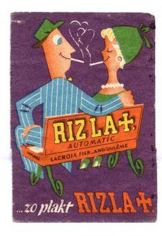 match box label Rizla, couple smoking