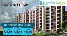 Gruhakalyan, CARNATION at Bannerghatta Road Near IIMB Flats Available, Price Starts From 2BHK 21.50 Lakhs, 3BHK 31.45 Lakhs & 4BHK 41 Lakhs.