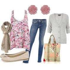 Fall outfit or spring outfit floral shirt with nice jeans brownish flats scarf sweater you throw on if cool if not dont have to a purse and so cute flower earrings just adorable :)