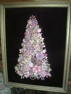 Vintage Jewelry Christmas Tree Rhinestone Framed Pink Purple | eBay $70
