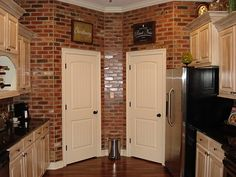 Love the brick walls for the kitchen