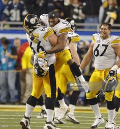 Steelers #55 Joey Porter celebrates with #66 Alan Faneca during Super Bowl XL between the Pittsburgh Steelers and Seattle Seahawks at Ford Field in Detroit, Michigan on February 5, 2006.