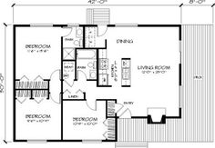 This home is perfect for active living. Its rectangular design allows the use of truss roof framing, which makes construction easy and economical. The gal. Cabin House Plans, Cottage Floor Plans, Small House Plans, Contemporary Style Homes, Contemporary House Plans, Cabin Design, House Design, Galley Style Kitchen, House Information