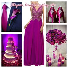 Beautiful fall wedding color, Magenta. This stunning color can be paired with purple, teal,navy, champagne and so many more.