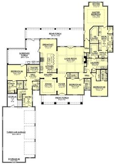 European Style House Plan - 4 Beds 4.50 Baths 3360 Sq/Ft Plan #430-126 Floor Plan - Main Floor Plan - Houseplans.com
