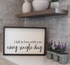 Welcome to Once Upon A Sign! I Fall In Love With You Every Single Day Framed Wood Sign Sayings | Signs With Quotes | Signs For Home | Farmhouse Sign | Rustic Farmhouse Decor | Fixer Upper Style Signs | Home Decor Lead times on all orders - We are usually able to ship out your #DIYHomeDecorArt