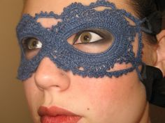 """Crochet Mask:  Free Pattern- cuz you never know when you want to delicately leap over that line..you know the one-the one that means you are either an """"awesome crafty girl"""" or a 'crazy crocheting granny"""""""