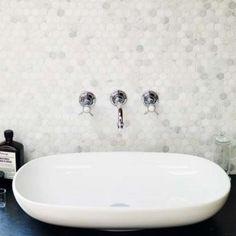Hexagonal Mosaic, Honed - Floor tiles - Shop - Wall & Floor Tiles | Fired Earth Washroom Tiles, Loft Bathroom, Master Bathroom, Bathroom Ideas, Family Bathroom, Fired Earth Bathroom, Wall Mounted Taps, Wall Taps, Boffi