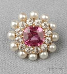 Antique 18kt Gold, Pink Sapphire, Pearl, and Diamond Brooch by winifred
