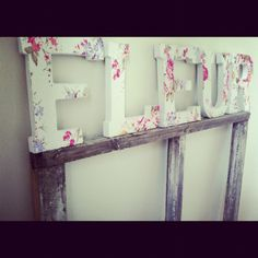Fabric covered letters with edges frayed