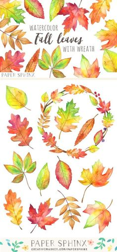 Fall Leaves Watercolor Pack by PaperSphinx on Fall Leaves Drawing, Fall Leaves Tattoo, Leaf Drawing, Autumn Leaves, Leaves Sketch, Watercolor Leaves, Watercolor Drawing, Watercolor And Ink, Watercolor Ideas