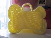 FROM KNIT POSSIBLE: Bone Bag free crochet pattern, would be a cute Halloween trick or treat bag