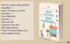 """Der Debütroman """"Herz verloren, Glück gefunden"""" von Christine von Laffert bescherte mir unterhaltsame Lese- und Wohlfühlmomente. Mit einer Portion Humor und purer Romantik wurde ich mit dieser Geschichte verwöhnt. Ein gelungener Roman in dem tiefgründige Freundschaften, ein turbulentes Familienleben, Liebe und Witz eine bedeutende Rolle spielen. Eine absolute Leseempfehlung für heiße oder kalte Tage! ~ Romantisch ~ lebendig ~ erfrischend ~ purer Lesegenuss zum Abschalten"""