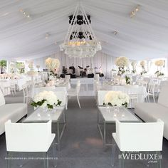 Stunning elegant white wedding reception theme. Like/follow us at My Wedding Style on Pinterest for more amazing ideas.