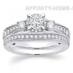 1 Ct Round Cut Natural Diamond 14K Gold Three Stone Engagement Bridal Set #AffinityHomeShopping #EngagementBand