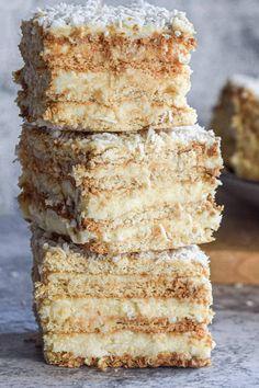 Coconut Desserts, No Bake Desserts, Just Desserts, Delicious Desserts, Yummy Food, Baking Recipes, Cake Recipes, Dessert Recipes, Patisserie Sans Gluten