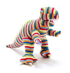 Knitted Stripey Midi T-Rex £14.00 Take one T-Rex and give it stripes! The ever popular T-Rex dinosaur soft toy is now available in gorgeous stripes. How can you resist this cute T-Rex dinosaur toy? Have you seen his other dino friends?