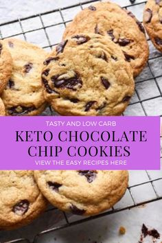 Tasty and low carb keto chocolate chip cookies keto diet ketosis Low Carb Chocolate Chip Cookies, Keto Chocolate Chips, Keto Cookies, Low Carb Sweets, Low Carb Desserts, Low Carb Recipes, Keto Snacks, Low Carb Keto, Lchf