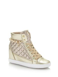 sneakers met sleehak FORTY, in metallic-look Casual Boots, Cute Casual Outfits, Stylish Outfits, Wedge Sneakers, Wedge Shoes, Aesthetic Shoes, Womens Shoes Wedges, Types Of Shoes, Cute Shoes