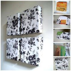 DIY Wall art make out of cereal boxes --Cover boxes with decorative paper and mount them on the wall.