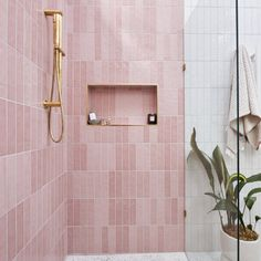Metro Tiles Bathroom, Bathroom Splashback, Bathroom Interior, Bathroom Feature Wall Tile, Blush Bathroom, Pink Bathrooms, Luxury Bathrooms, Cheap Tiles, Pink Showers