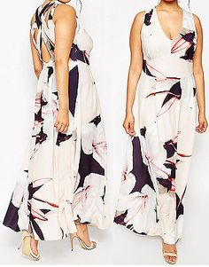 NEW ASOS CURVE SALON Maxi Dress Large Floral Lily Print 18 to 28 RRP £80