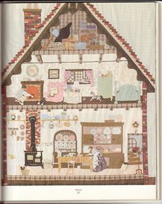 Russian photo only of appliqué house interior House Quilt Patterns, Applique Patterns, Applique Quilts, Quilting Patterns, Quilting Ideas, Patch Quilt, Quilt Blocks, Dollhouse Quilt, Japanese Patchwork