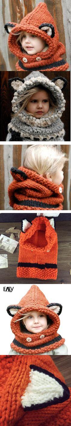 Children Winter Hat 2017 Girls Boys Kids Hats Cute Style Thick knitted Cap Warm Neck Wrap Fox Scarf Caps Fashion hat Black/Grey