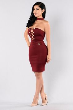 Available in Mocha and Burgundy Tube Dress Attached Choker Gold Button Detail Deep Neckline w/ Straps Fitted Knee Length Polyester Spandex Girl Outfits, Fashion Outfits, Womens Fashion, Ab Day, Scuba Fabric, Janet Guzman, Tube Dress, Short Dresses, Burgundy
